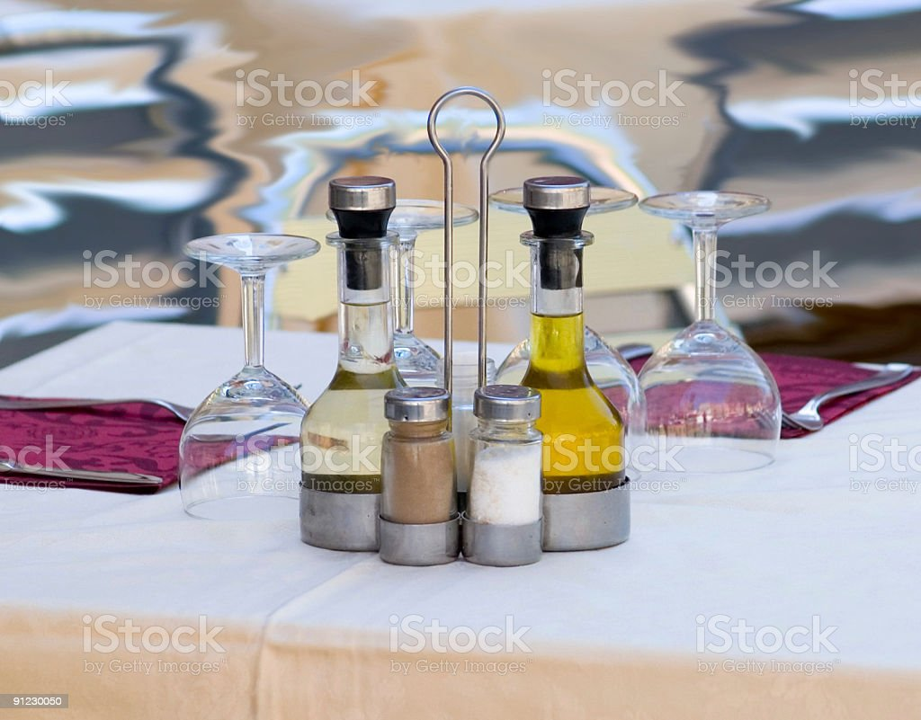 Cafe Table with Condiments royalty-free stock photo