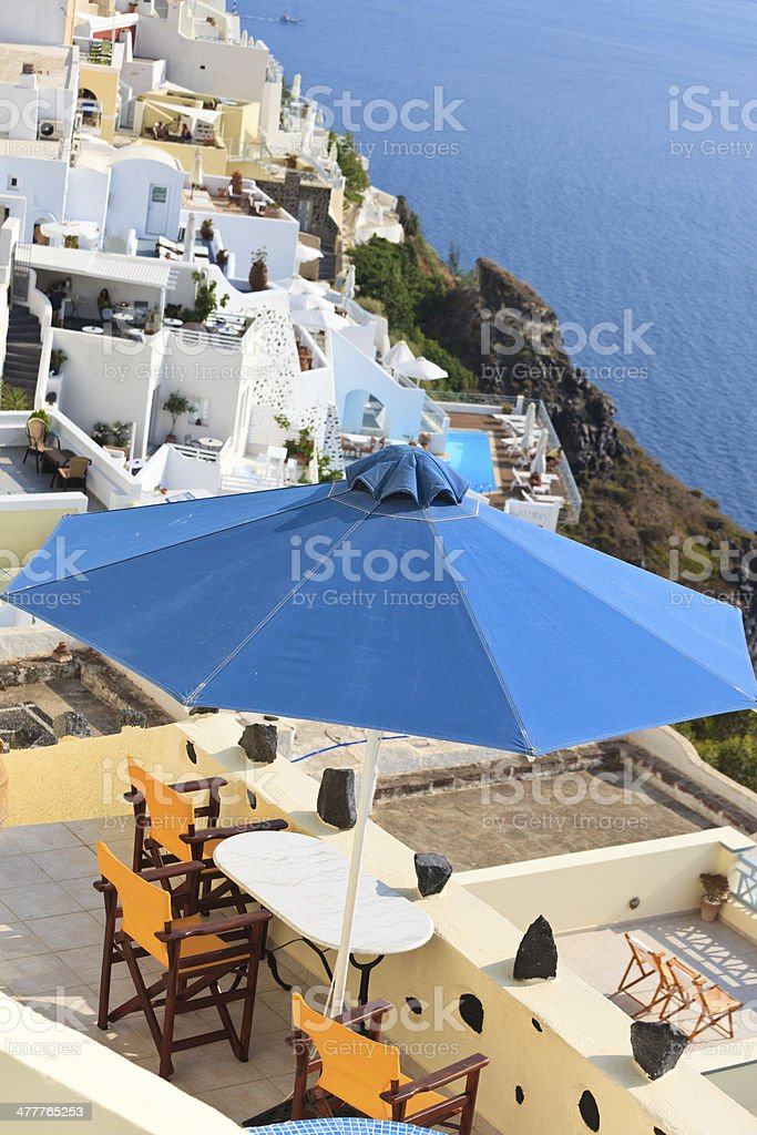 cafe table with the view in Santorini, Greece royalty-free stock photo