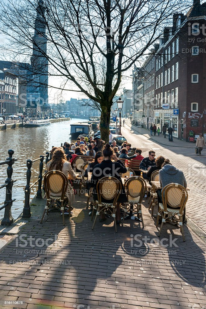 Cafe terrace at Prinsengracht, Amsterdam stock photo