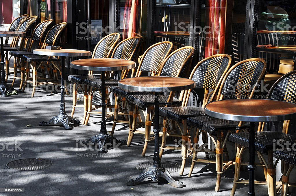 Cafe Terrace with tables and chairs royalty-free stock photo