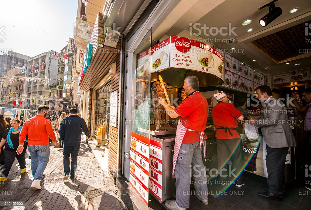 Cafe Vendors cooking food, Istanbul stock photo