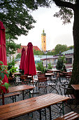 Cafe View Of The Heiliggeistkirche Clock Tower Of Munich