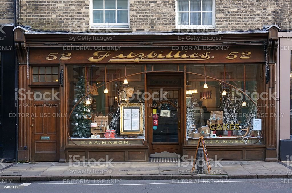 Cafe Window Front, Cambridge, England With Christmas Holiday Decorations stock photo