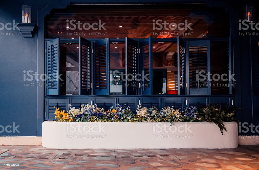 Cafe window stock photo