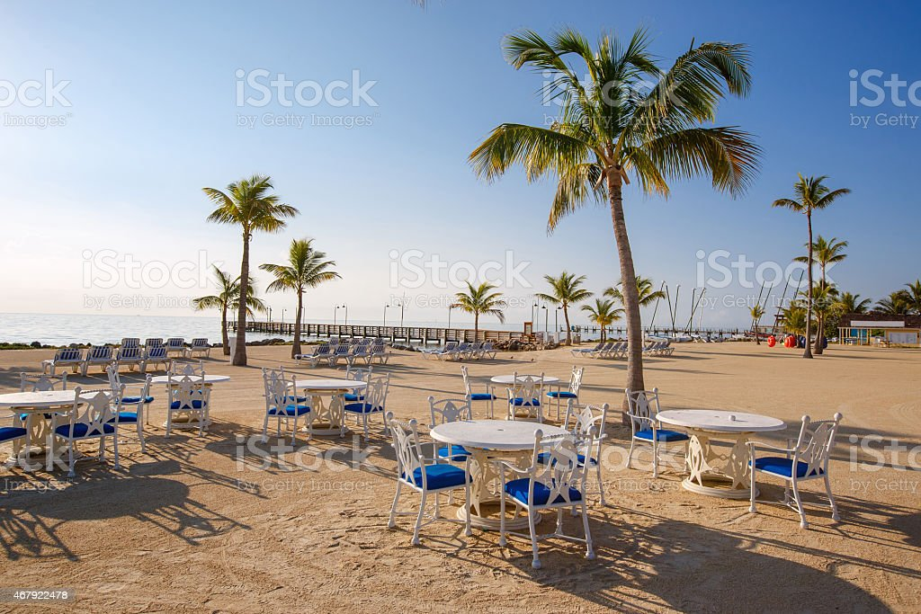 Cafe with beautiful view to the ocean stock photo
