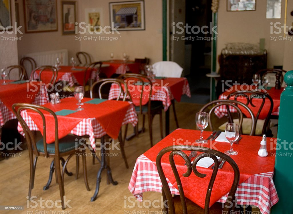 Cafe with red tablecloths stock photo