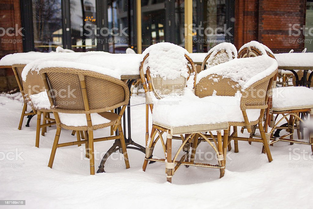 Cafe with snow stock photo