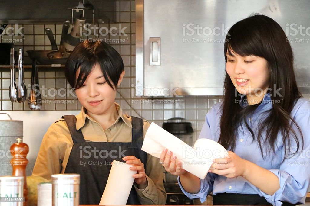 Cafe worker stock photo