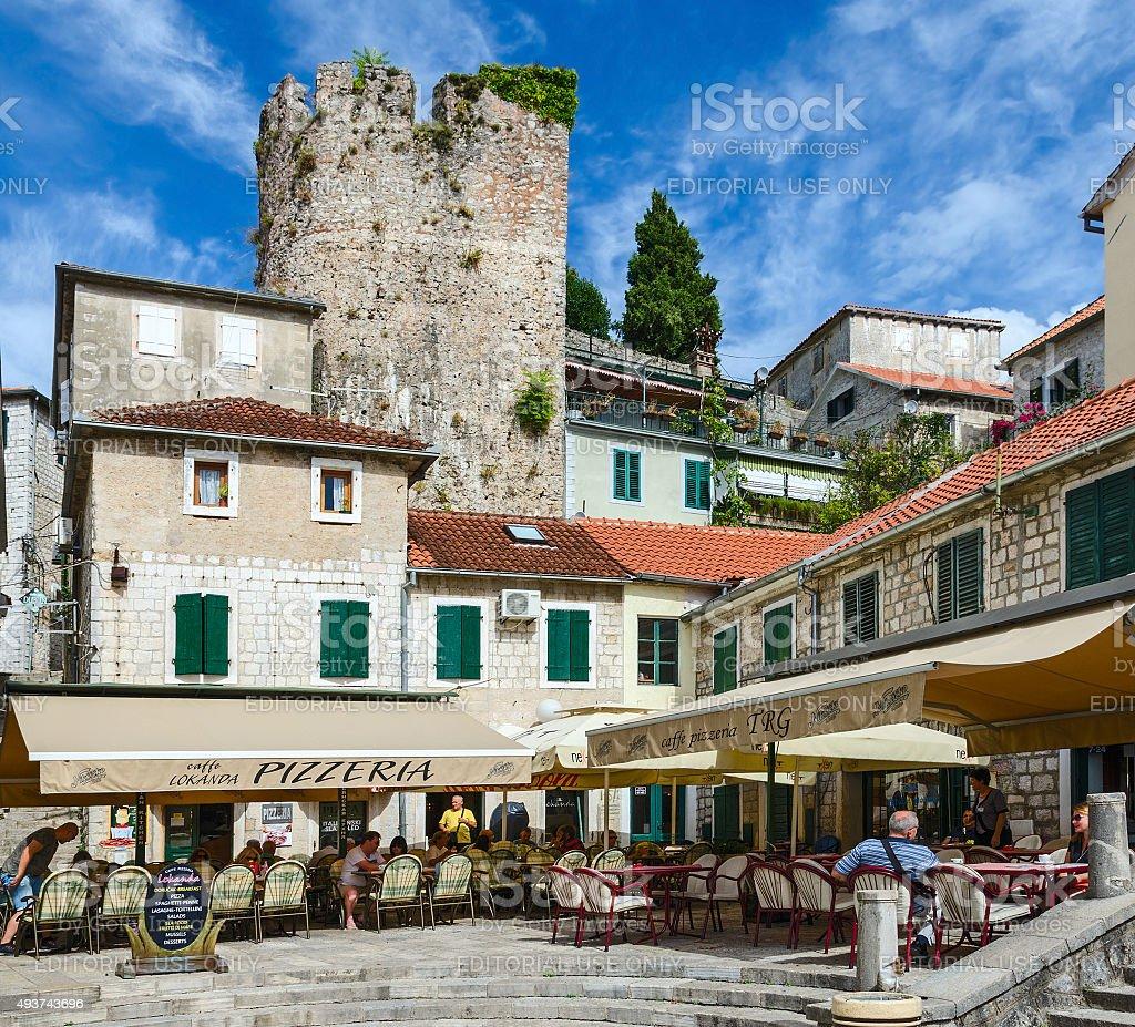 Cafe-pizzeria on the square Nicolas Dzhurkovicha in Herceg Novi, Montenegro stock photo