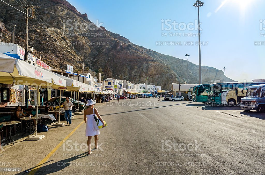 Cafes and offices in new port of Santorini stock photo