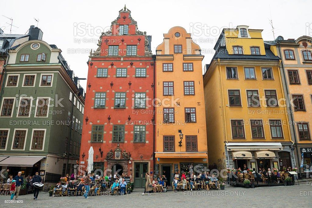 Cafes in Stortorget Square, Stockholm, Sweden stock photo