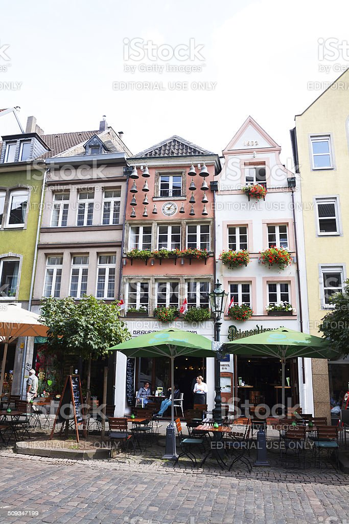Cafes in street Marktstra?e in D?sseldorf stock photo