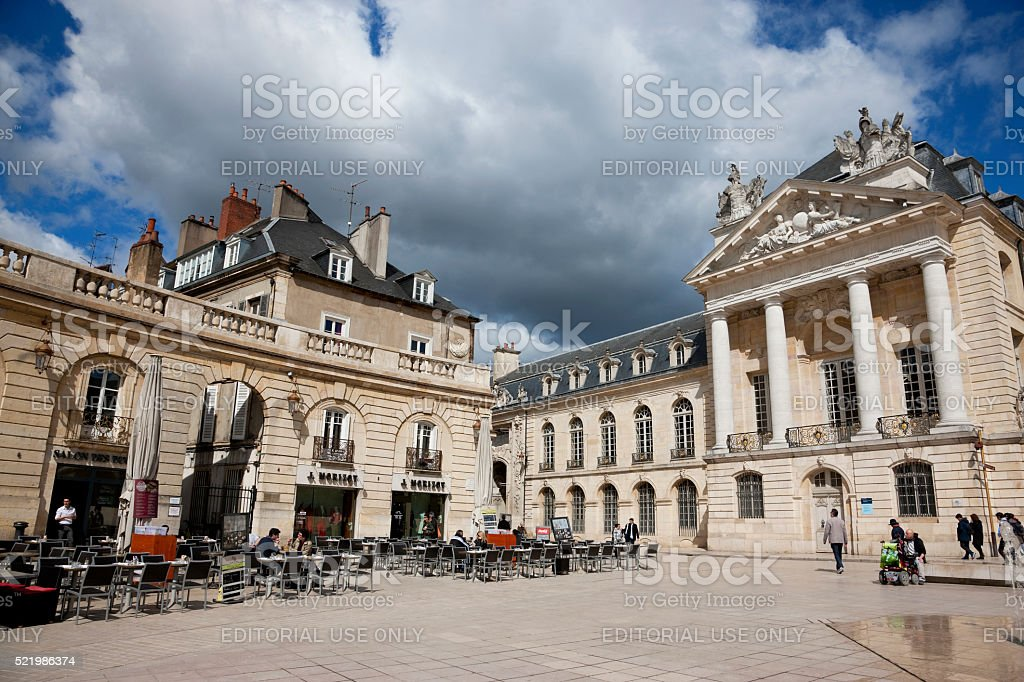 Cafes on Libération square in Dijon, France stock photo