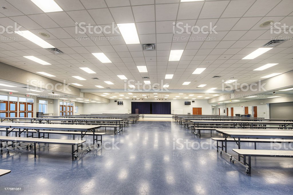 Cafeteria at Middle School stock photo