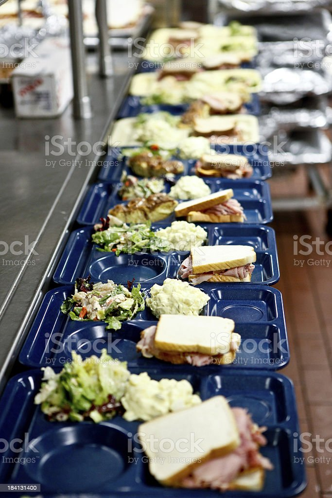 Cafeteria lunch assembly line stock photo