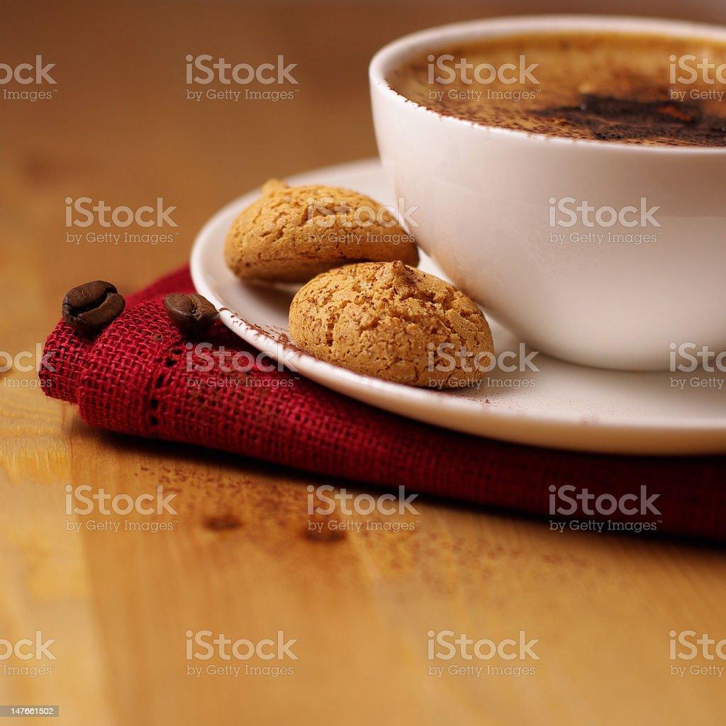 Caffe Crema with Amarettini royalty-free stock photo