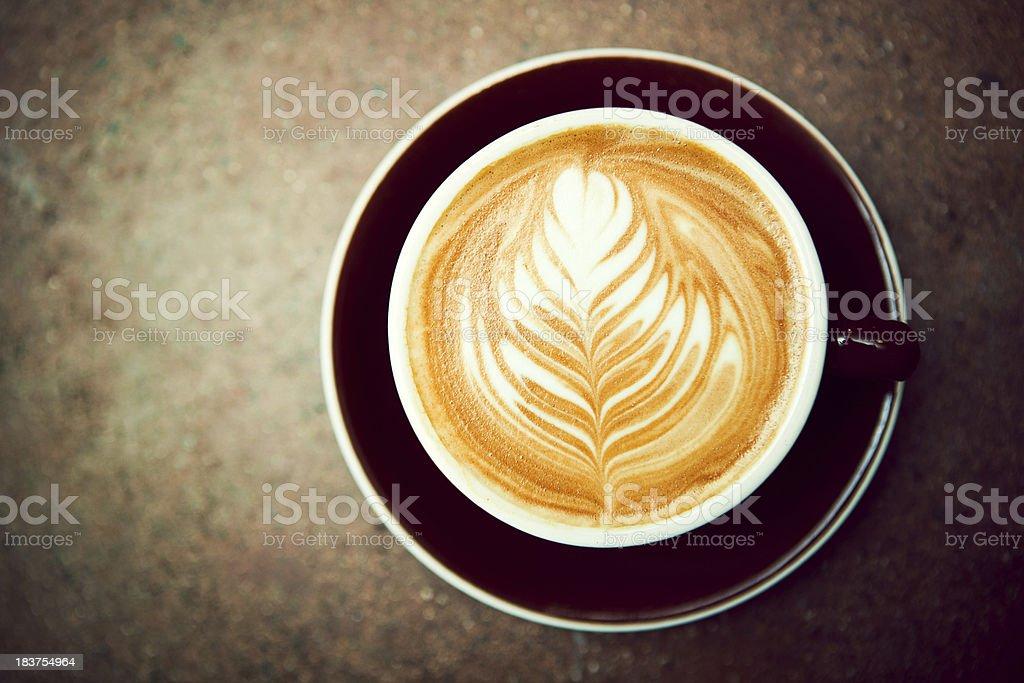 Caffe Macchiato Heart Fern Shape stock photo