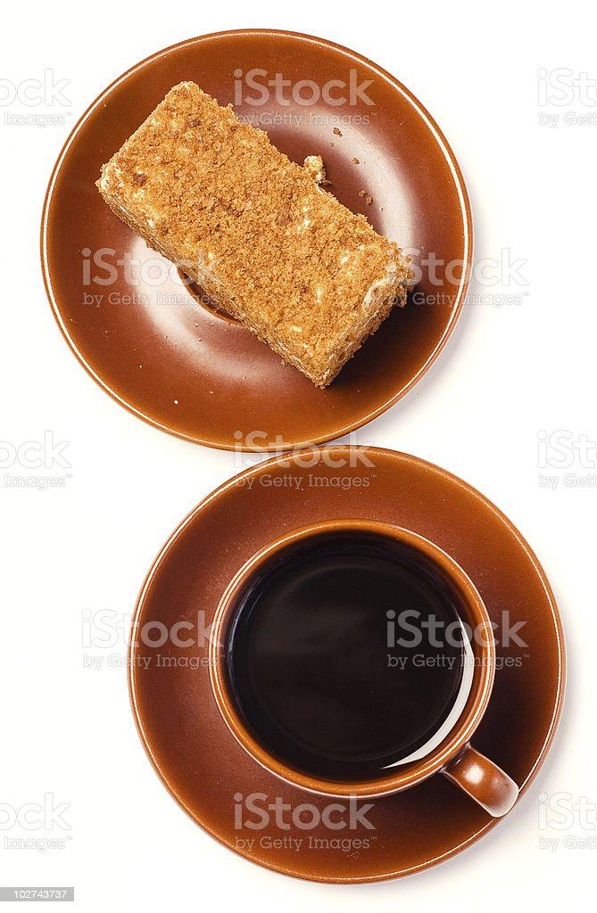 caffee and honey cake. royalty-free stock photo