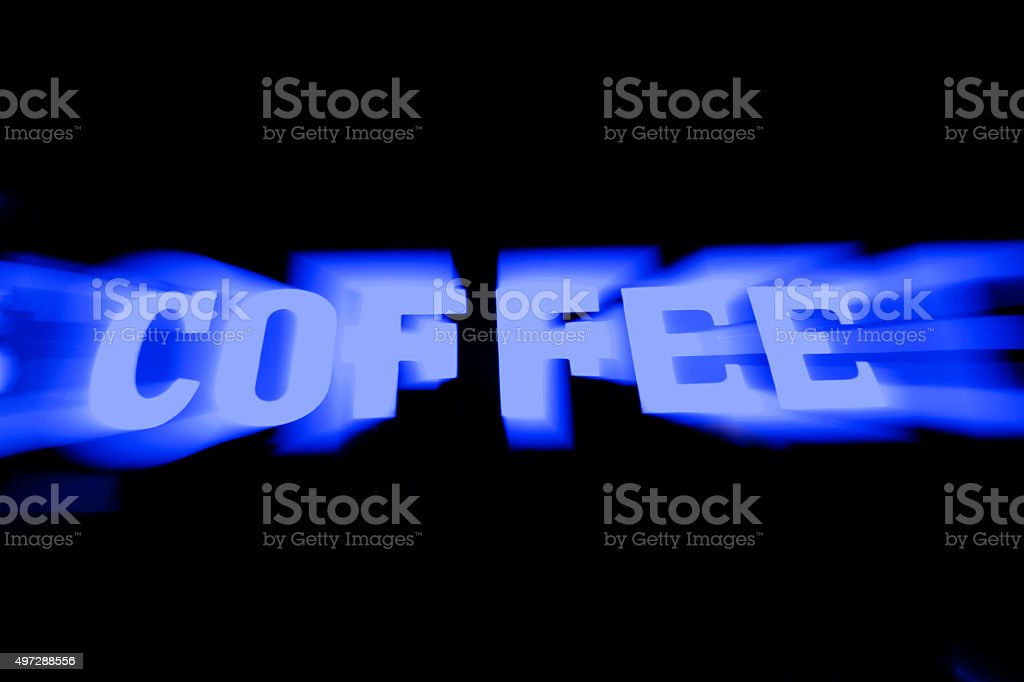 caffeinated in blue stock photo
