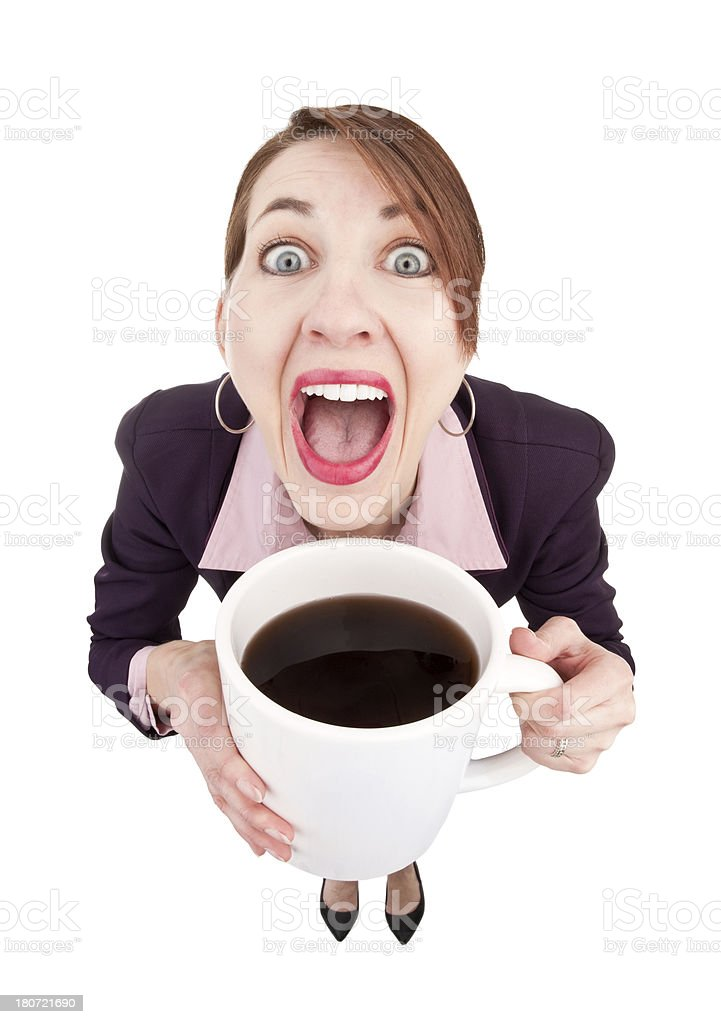 Caffeinated Woman With Large Cup of Coffee royalty-free stock photo