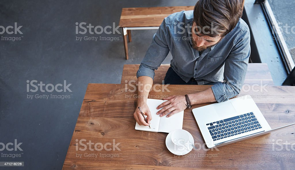 Caffeine-boosted productivity stock photo