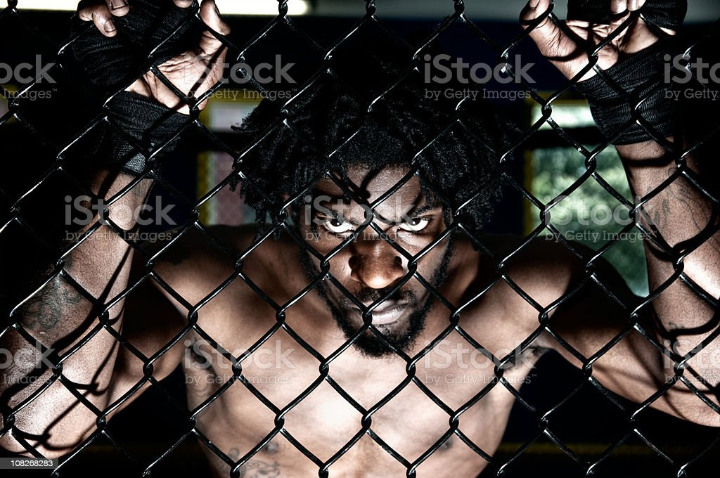 MMA cage fighter royalty-free stock photo