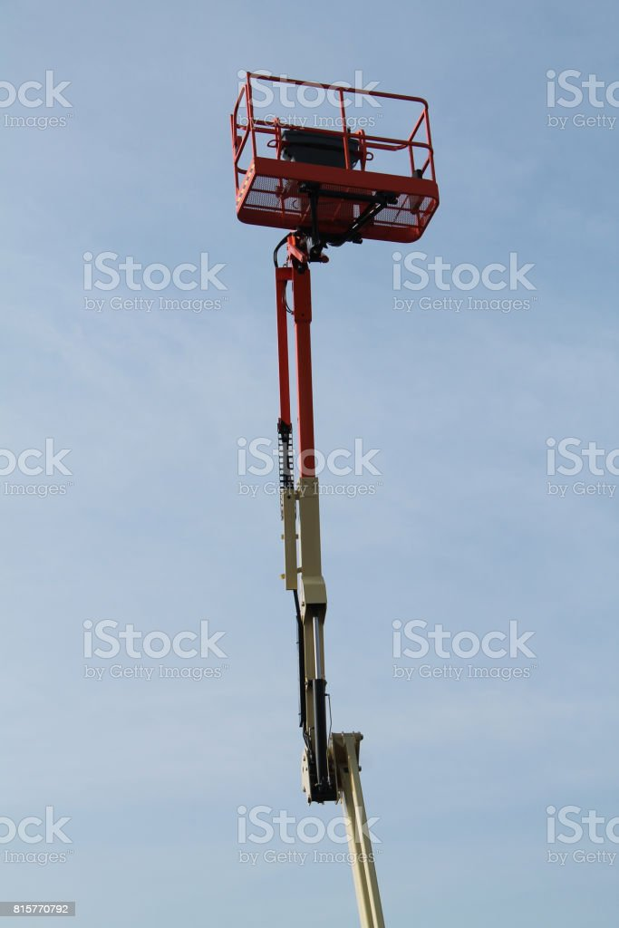 Cage of a Cherry Picker. stock photo