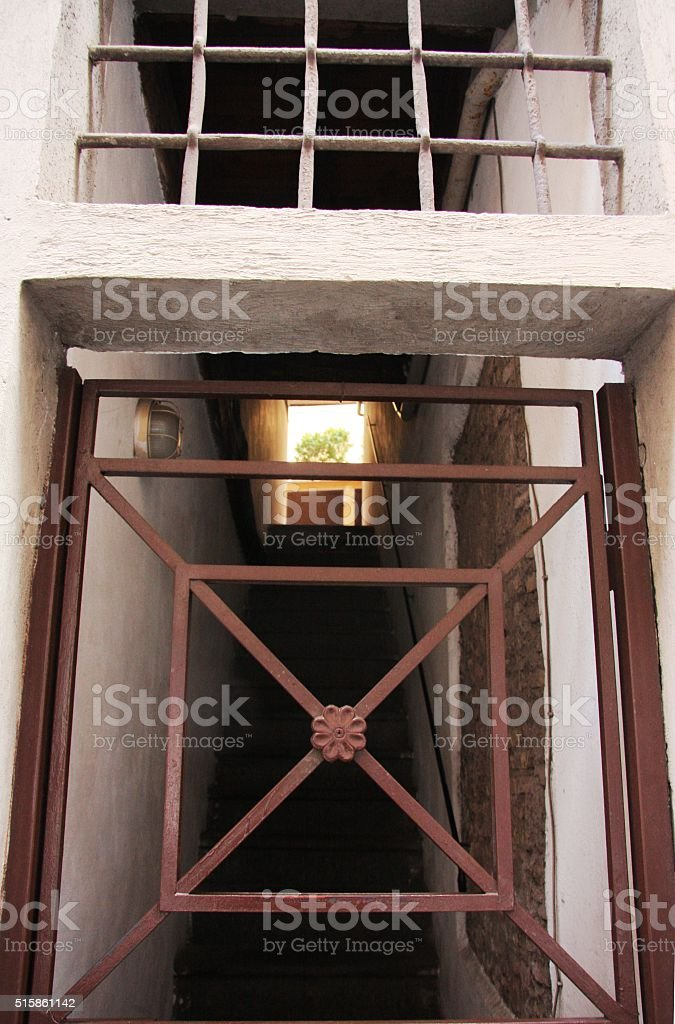 cage & stairs stock photo