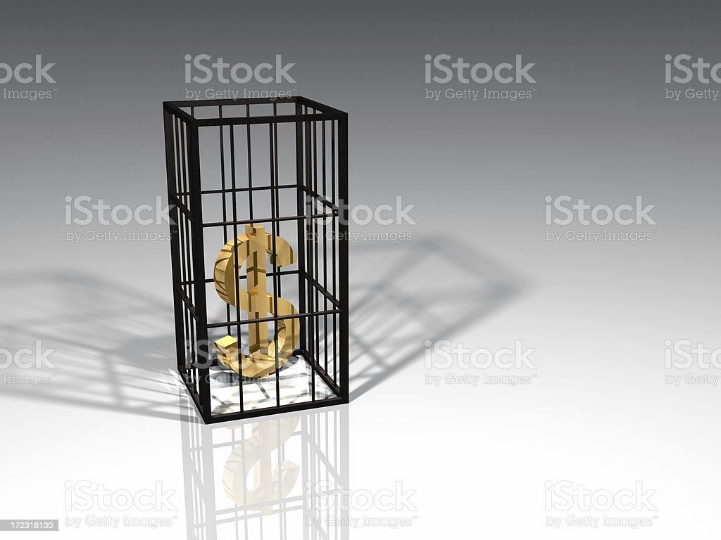 Caged Dollars royalty-free stock photo