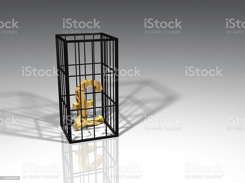 Caged Pound Sterling royalty-free stock photo
