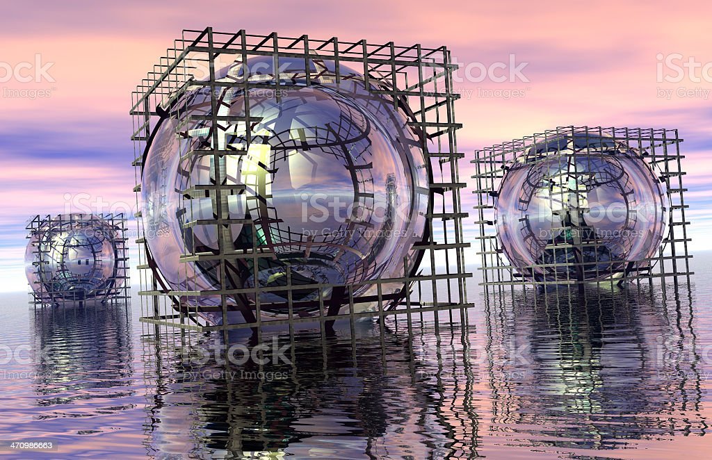 3 Caged Spheres stock photo