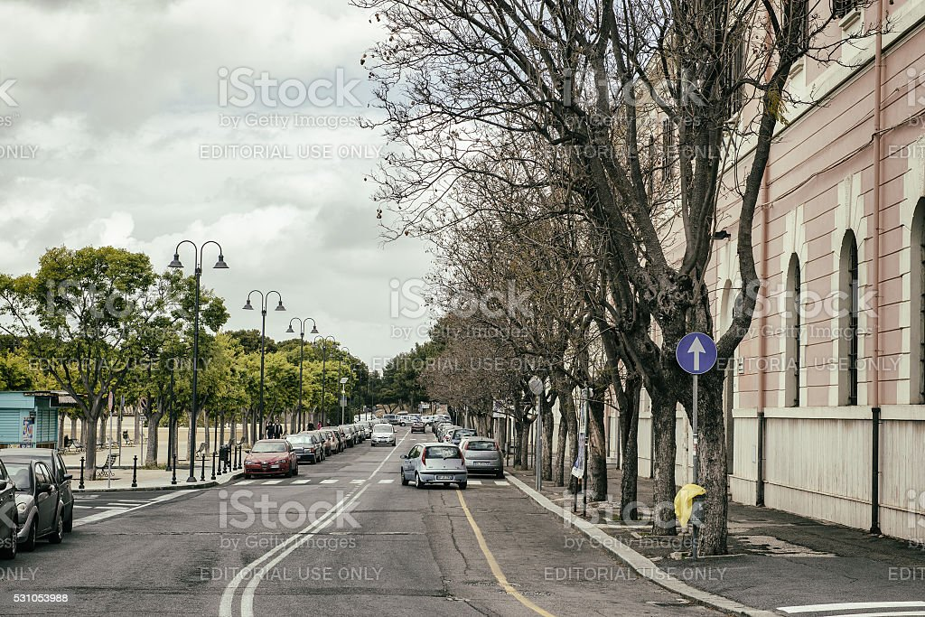 Cagliari boulevard on a rainy day stock photo