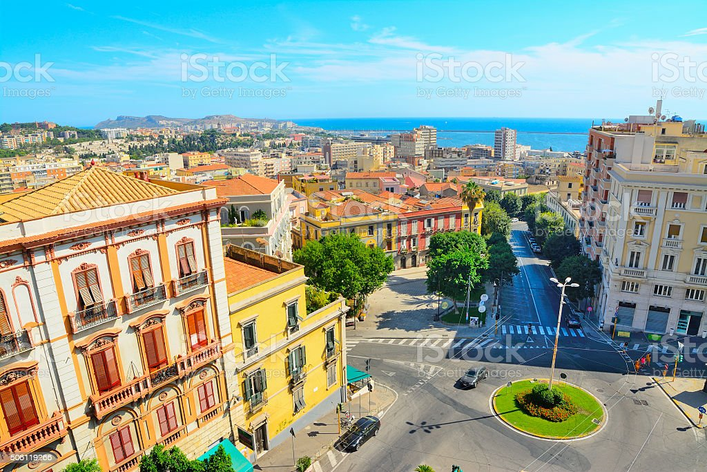Cagliari cityscape on a clear day stock photo