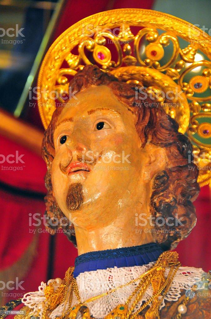 Cagliari, Sardinia, Italy: ornate Statue of St Ephysius / Sant'Efisio stock photo