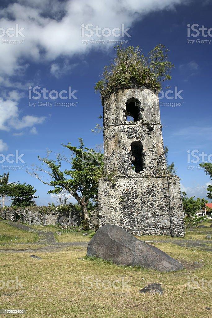 cagsawa church ruins mayon volcano philippines stock photo
