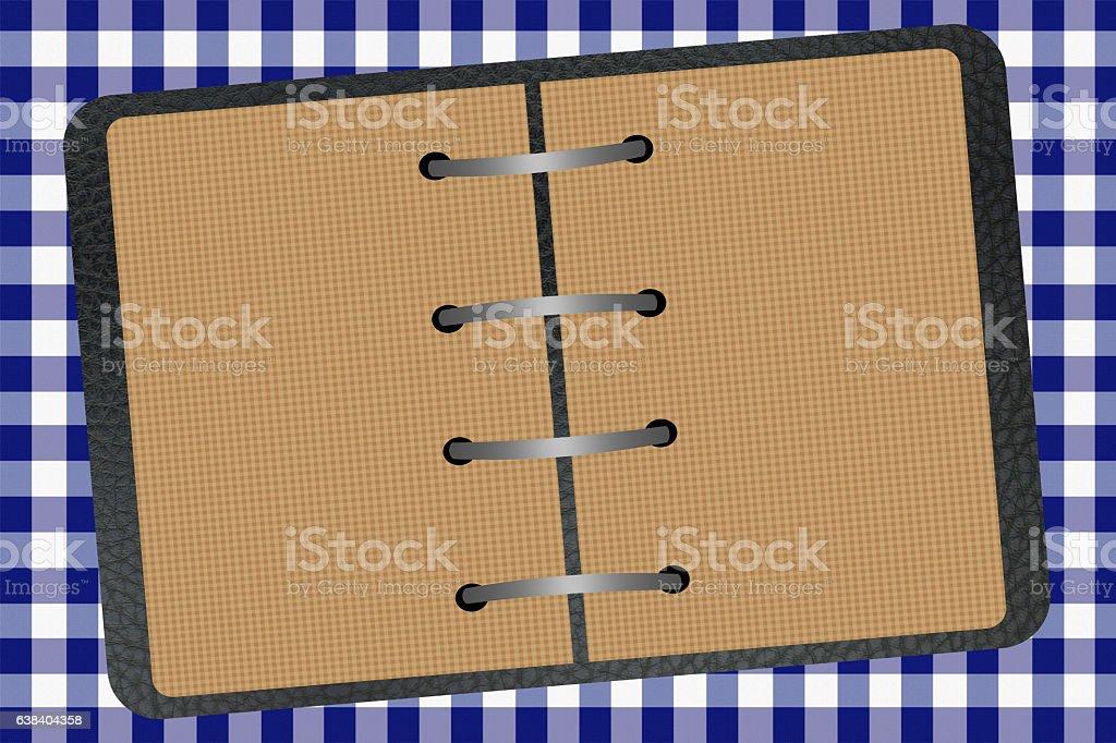 cahier classeur - Nappe à damier bleu stock photo