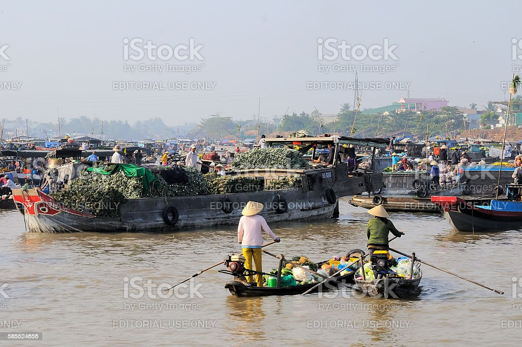 Cai Rang floating market, Can Tho, Vietnam stock photo