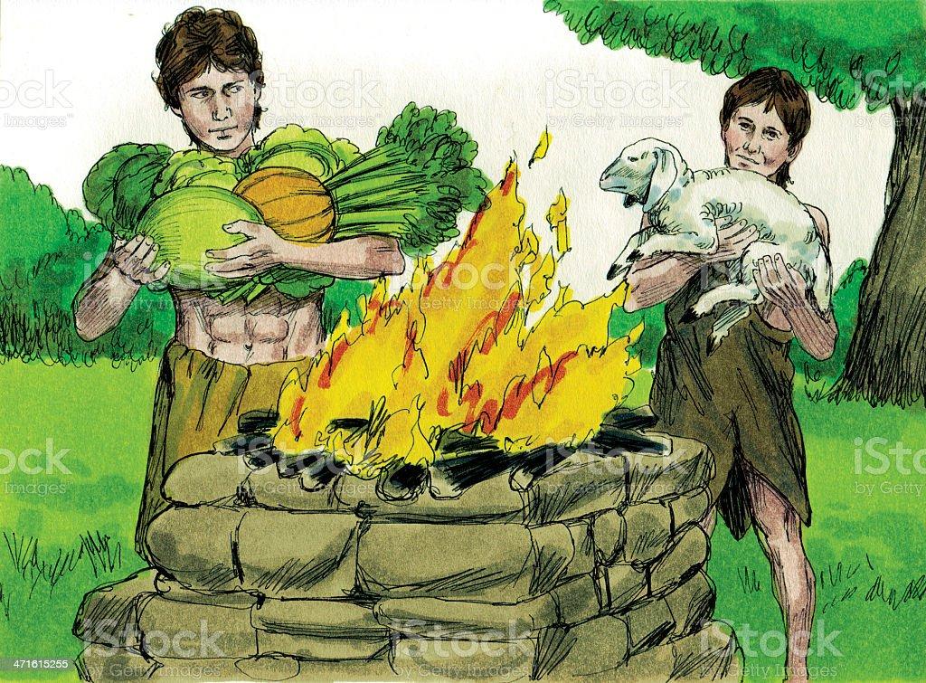 Cain and Abel Bring Sacrifice stock photo