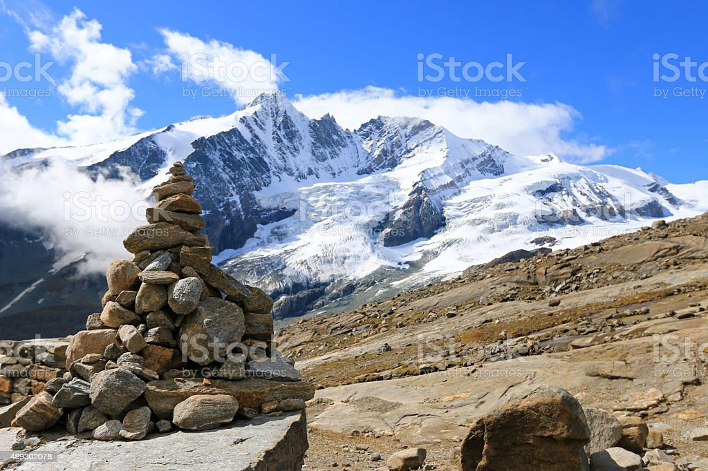 Cairn at Gamsgrube Nature hiking trail, Grossglockner in Austria stock photo