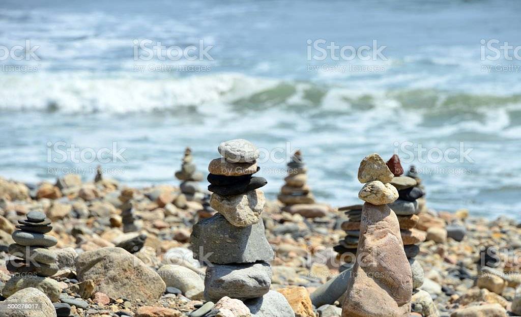 Cairn forest by the sea stock photo