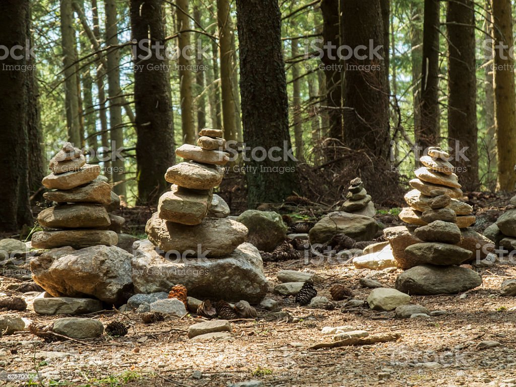 Cairn in the forest stock photo