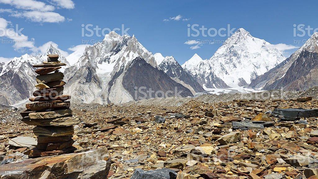 Cairn in the Karakorum Mountains, Pakistan stock photo