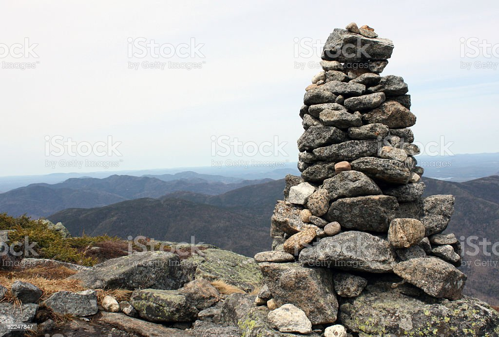 Cairn on Algonquin top stock photo