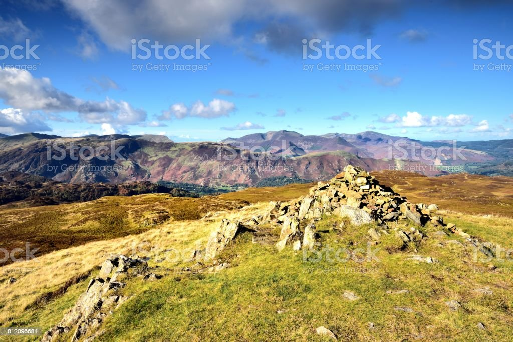Cairn on Bleaberry Fell stock photo