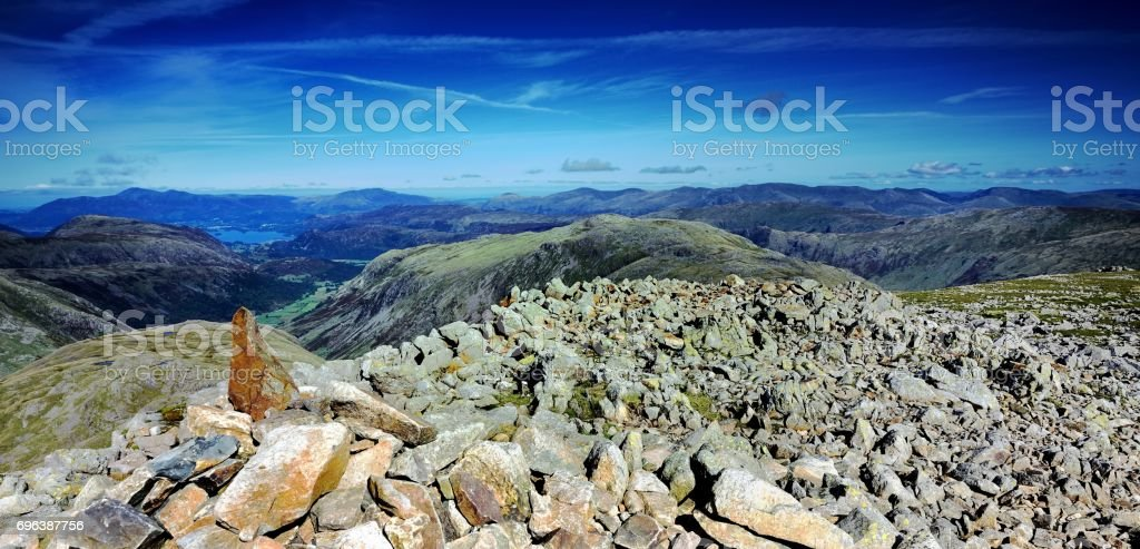 Cairn on Great End stock photo