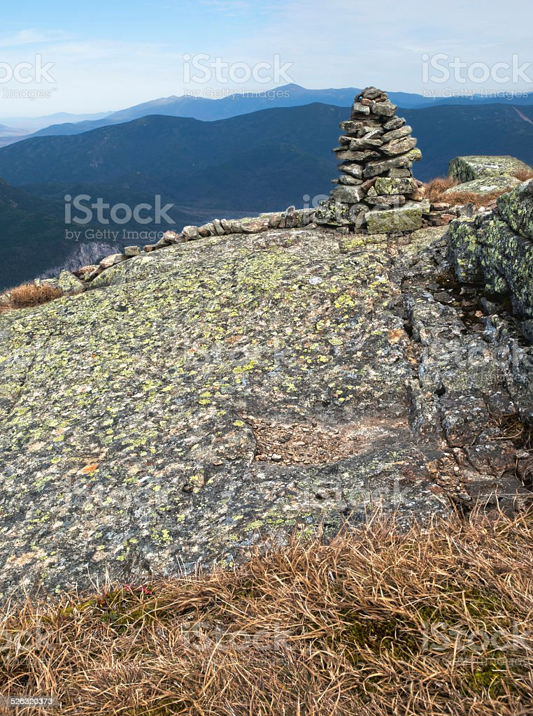 Cairn on Mt. Lafayette stock photo
