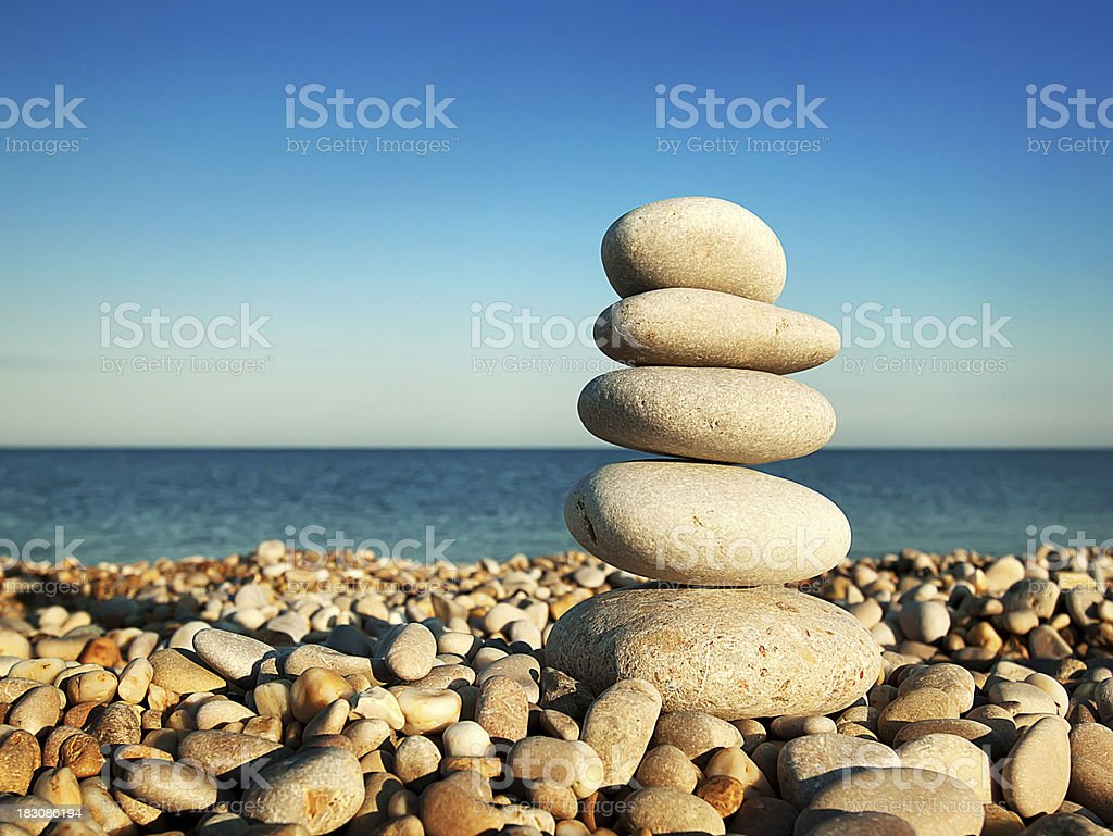 Cairn on the pebbly stock photo