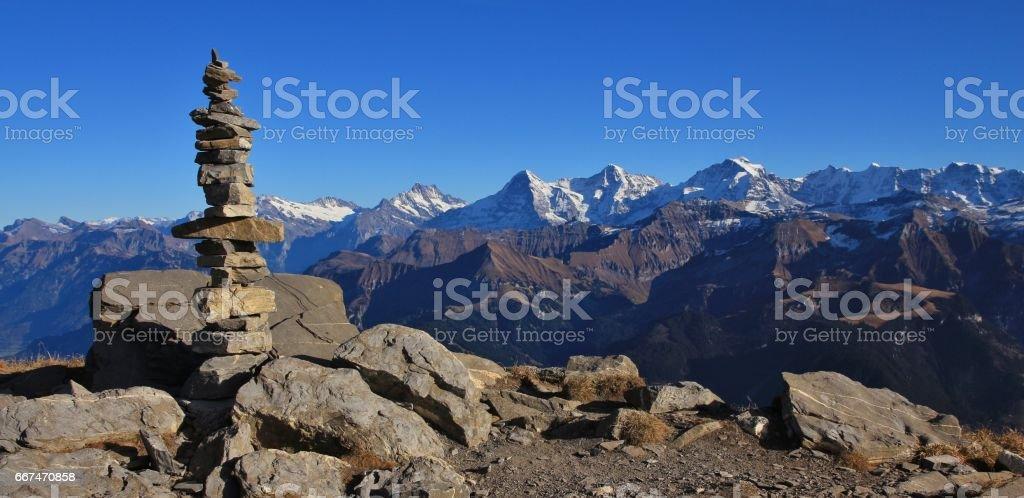 Cairn on top of mount Niesen stock photo