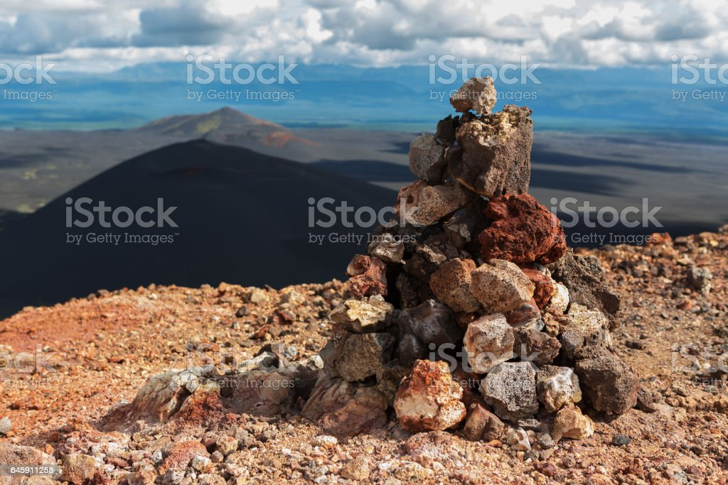 Cairn on top of North Breakthrough Great Tolbachik Fissure Eruption 1975 stock photo