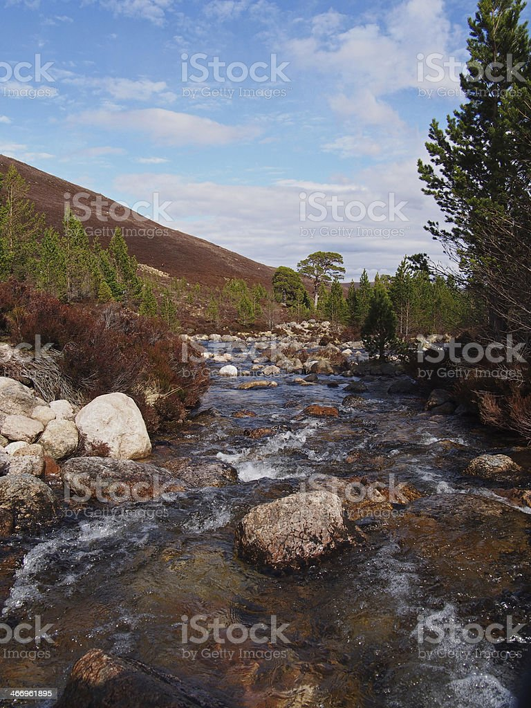 Cairngorms mountains, Gleann Laoigh Bheag, Luibeg river, Scotland in spring royalty-free stock photo